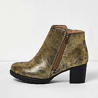 Girls gold metallic heeled ankle boots