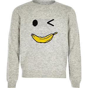 Girls grey knit banana man jumper