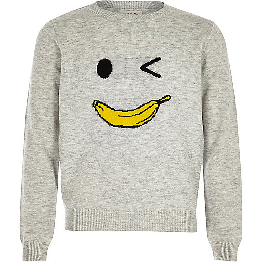 Girls grey knit banana man jumper