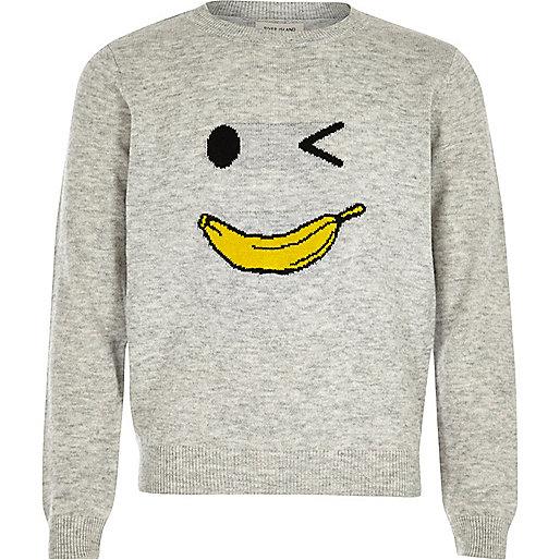 Girls grey knit banana man sweater