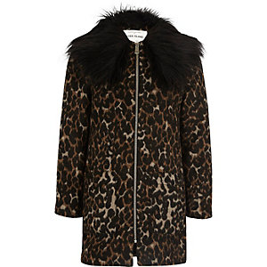 Girls brown leopard print faux fur coat