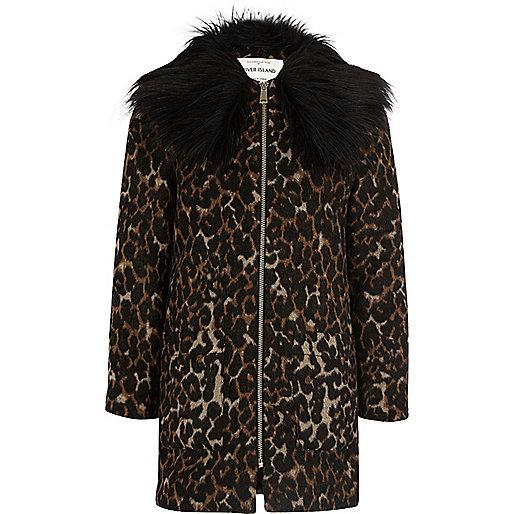 Girls brown leopard print faux fur coat