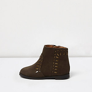 Mini girls khaki brown stud western boots