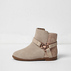 Mini girls nude and gold ankle boots