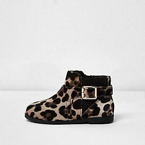 Mini girls leopard print velvet boots
