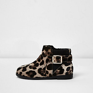 Mini girls leopard print velvet boots