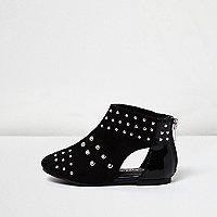 Mini girls black stud cut-out shoe boots