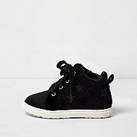 Baskets montantes noires motif étoiles mini fille