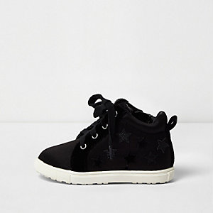 Mini girls black star hi tops