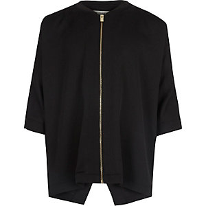 Girls black lightweight zip bomber jacket