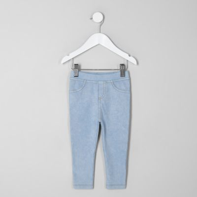 Mini Girls Light Wash Denim Look Leggings by River Island