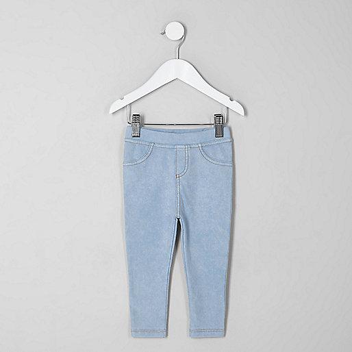 Legging effet jean à délavage clair mini fille