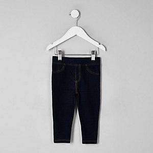 Donkere denimlook legging voor mini girls
