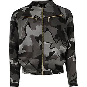 Girls khaki camo zip bomber jacket
