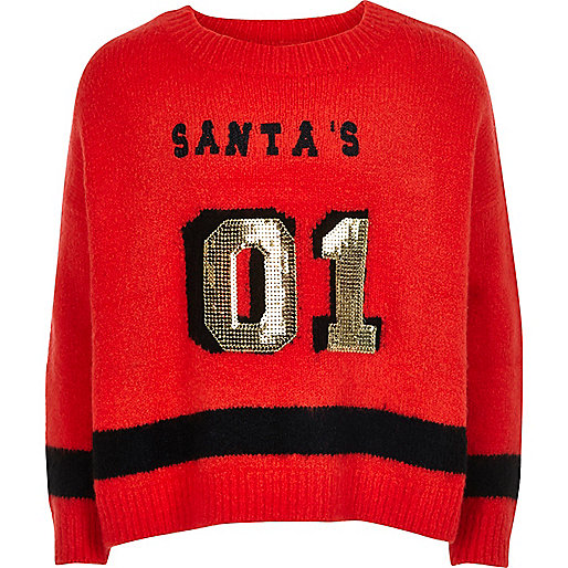 Girls red knit sequin Christmas jumper