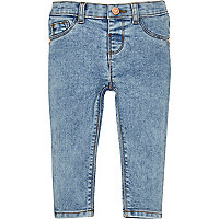 Mini girls blue acid wash skinny jeans