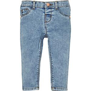 Mini girls blue acid wash skinny jeans