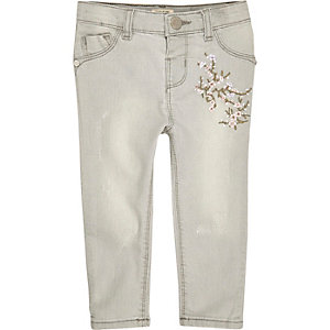 Mini girls grey embroidered skinny jeans