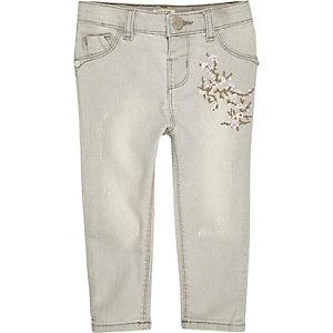 Graue Skinny Jeans mit Stickerei