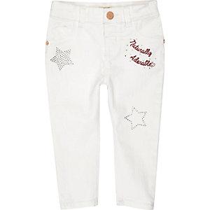 Mini girls white embellished jeans