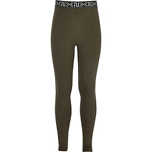 Girls khaki green branded high rise leggings