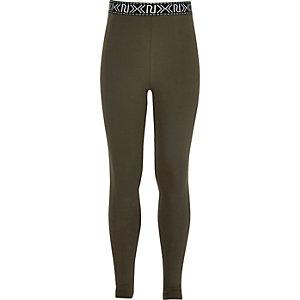 Kakigroene legging met hoge taille en logo voor meisjes