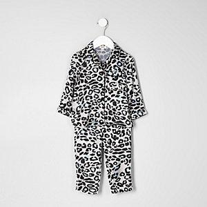 Roze pyjamaset met luipaardprint voor mini girls