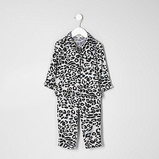 Mini girls pink leopard print pyjama set