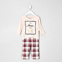 Mini girls pink top check leggings pyjama set
