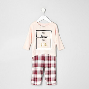 Mini girls pink top check leggings pajama set