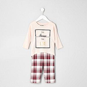 Pyjama legging à carreaux et top rose mini fille