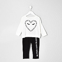 Mini girls cream heart print pajama set
