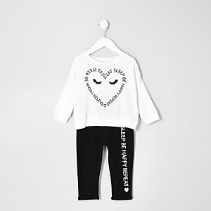Mini girls cream heart print pajama set