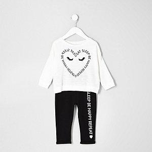 Crème pyjamaset met hartjesprint voor mini girls