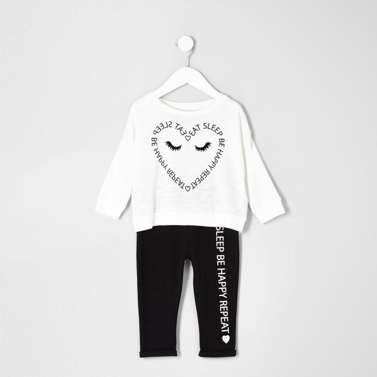 Mini girls cream heart print pyjama set