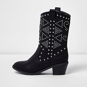 Girls black stud western boots