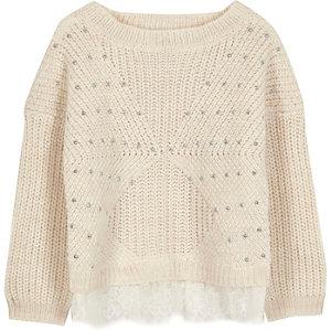Mini girls cream knit lace embellished sweater
