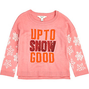 Mini girls pink snowflake sleeve sweater