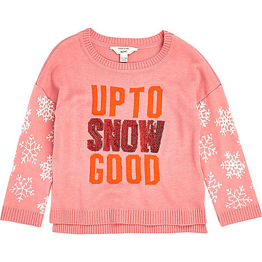 Mini girls pink snowflake sleeve sweater