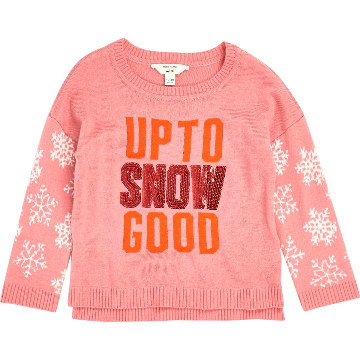 Mini girls pink snowflake sleeve jumper