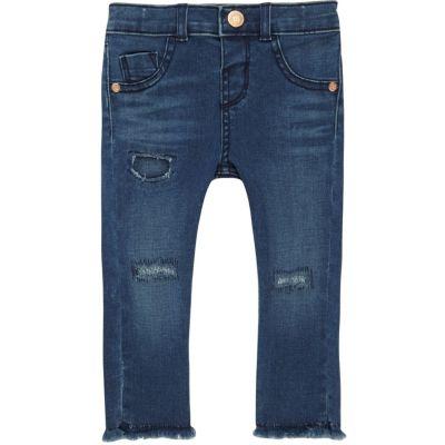 Mini blauwe ripped skinny jeans voor meisjes