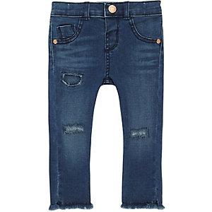 Mini girls blue ripped skinny jeans