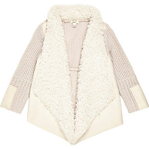 Mini girls cream shearling waterfall cardigan