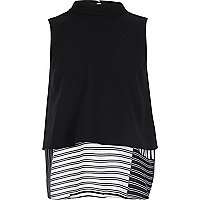Girls black double layer tank