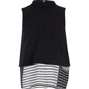 Girls black double layer vest