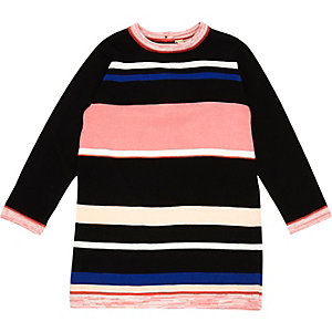 Mini girls black stripe knit dress