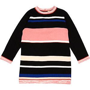 Mini girls black stripe knit dress