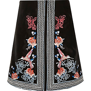 Girls black oriental A-line skirt
