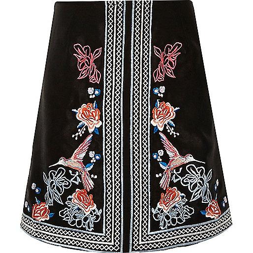 Girls black oriental A-line skirt