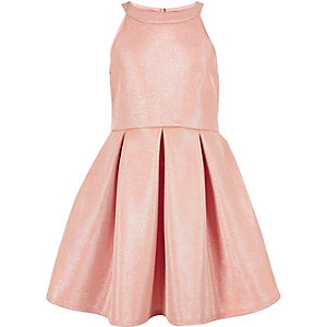Girls sparkly pink pleated prom dress
